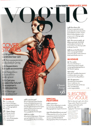 vogue fashion magazine contents page layout