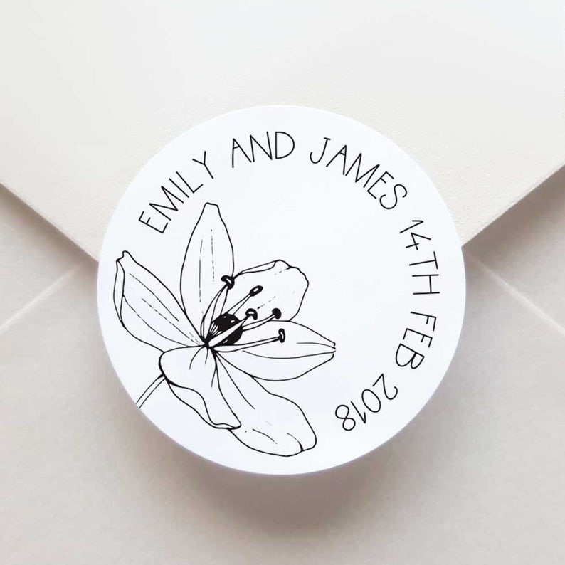 custom wedding envelope stickers with a black and white flower illustration