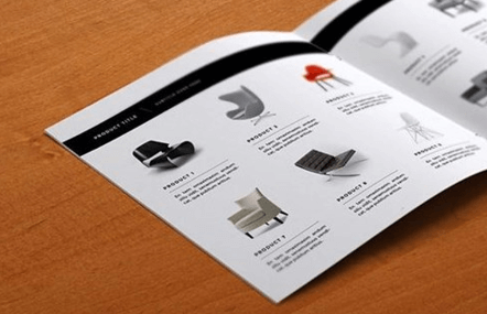 product catalogue showing a range of armchairs