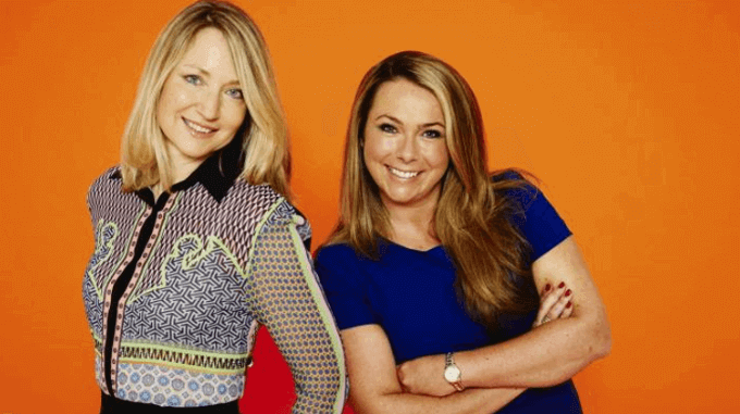 Founders of not on the high street Holly Tucker and Sophie Cornish on an orange background