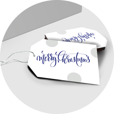 blue and silver merry Christmas gift tags