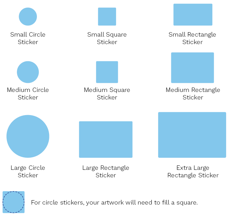 sticker sizes and shapes including circle, square and rectangle