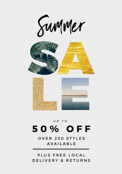 summer sale poster with a beach theme