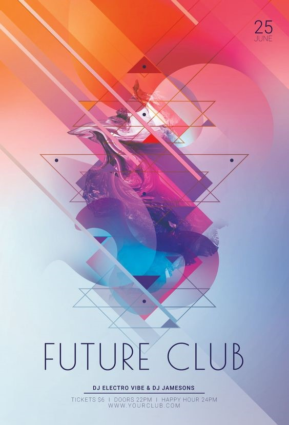 futuristic club flyer with a pink and orange gradient