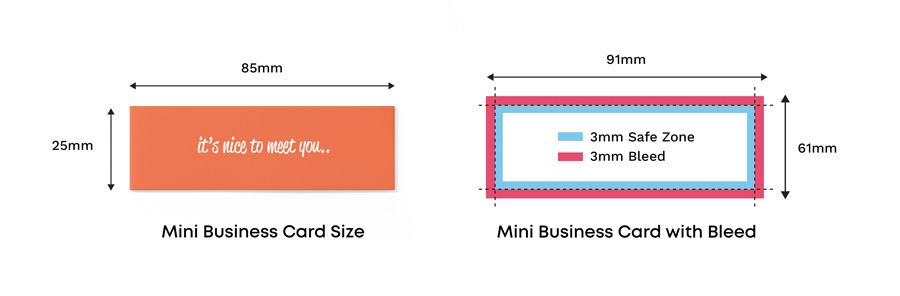 mini business card size with and without bleed