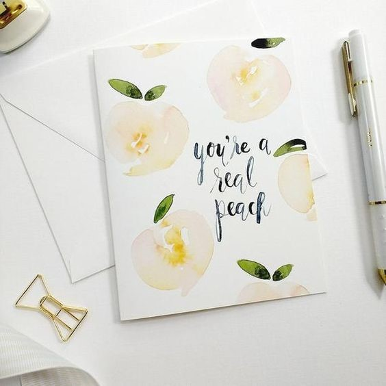 watercolour greetings card with peach design and calligraphy