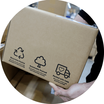 instantprint's new boxes with icons showing how to recycle the packaging