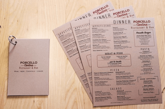 kraft paper menu design