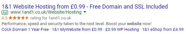 PPC example that uses star ratings to instil trust in a searcher