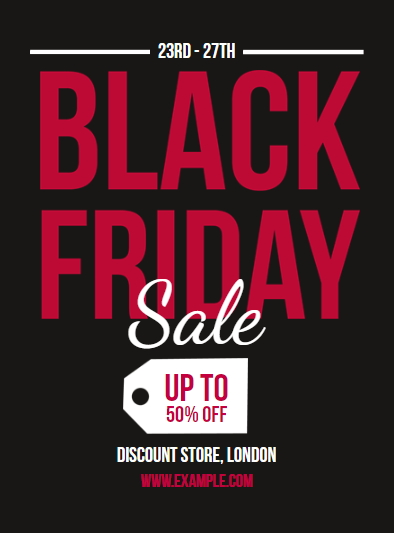 free black friday sales poster design template with red text