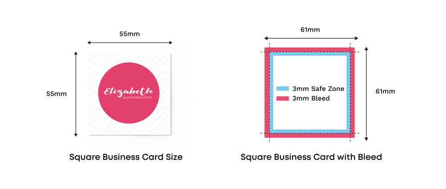 uk square business card size with and without bleed
