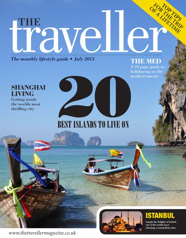travel magazine front cover design with a beach