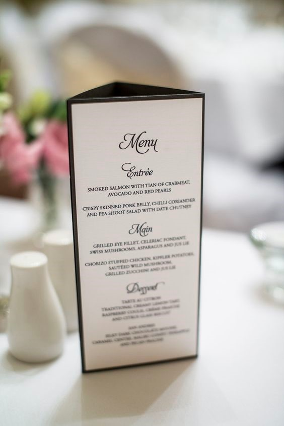 wedding table talker menu in black and white