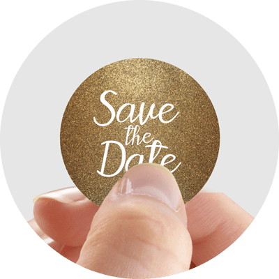 sparkly gold save the date sticker