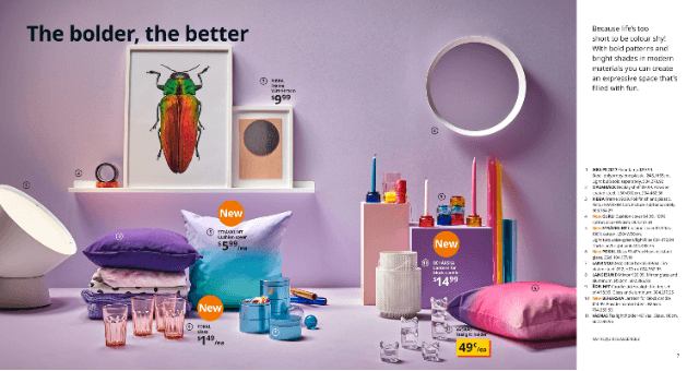 purple ikea catalogue interior design scene