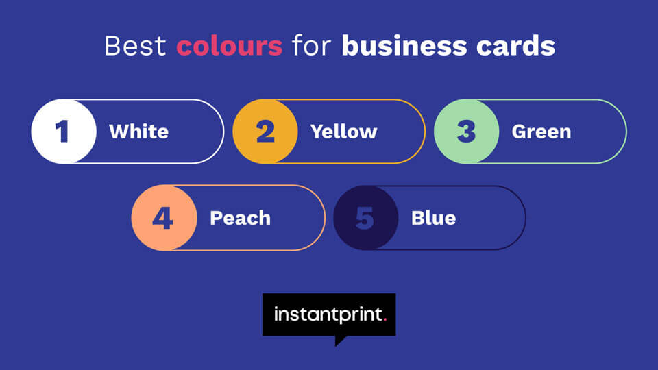 best colour business cards revealed as white yellow green peach and blue