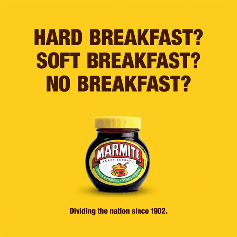 funny marmite print ad that plays on the commonality between it and brexit that it also divides the nation's opinion