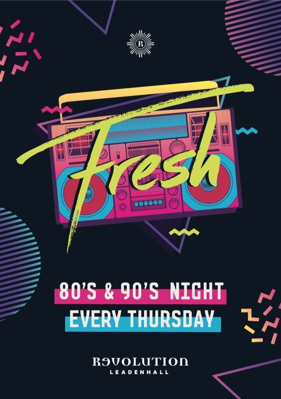 80s and 90s style club flyer design