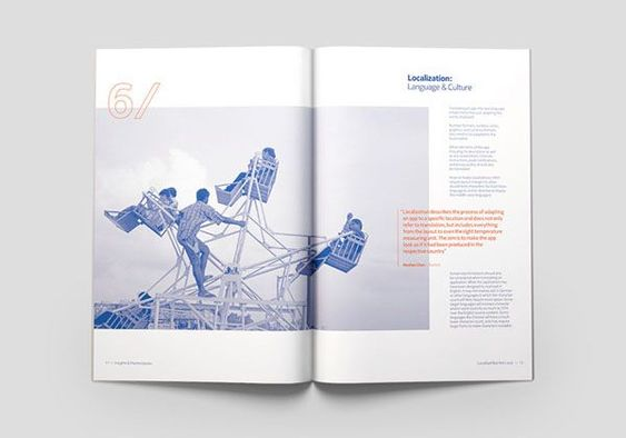 blue and orange magazine layout