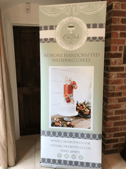 green roller banner design for a cake decorating business
