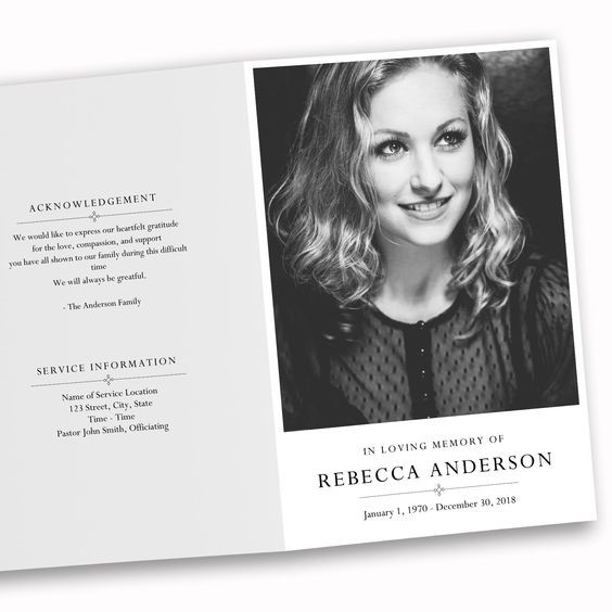 modern funeral order of service design with a black and white image of the deceased