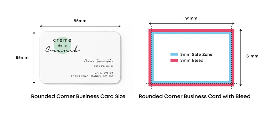 standard uk business card size with rounded corners
