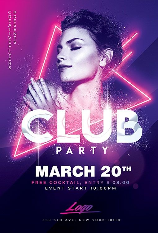 purple and pink club flyer design