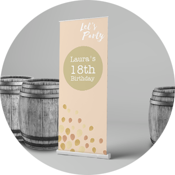 pink 18th birthday party roller banner on a grey background