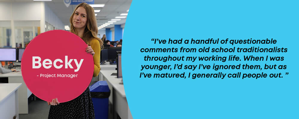 Becky project manager with a quote about being a woman in the print industry
