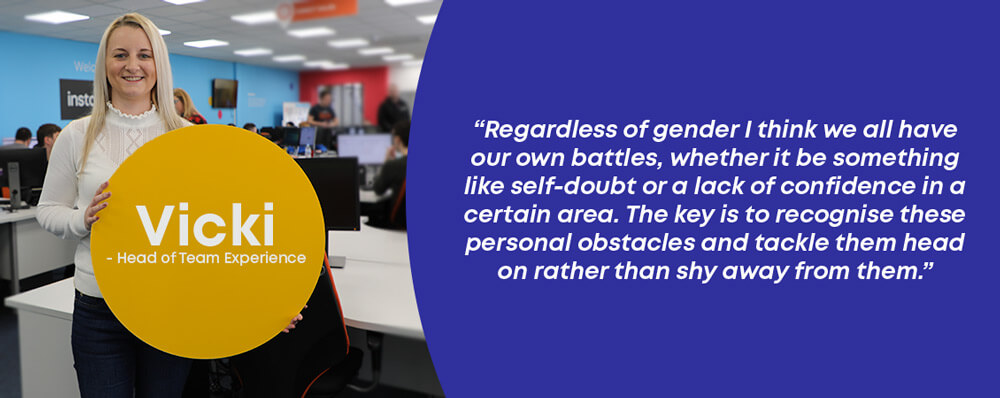 Vicki the head of team experience at instantprint with a quote about gender and print