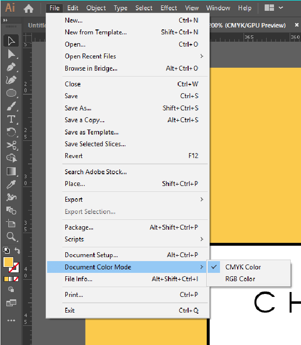 Converting files to CMYK in Adobe Illustrator