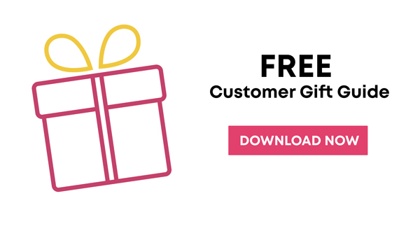 free customer gift guide download button for Christmas 2019 with a pink and yellow present outline