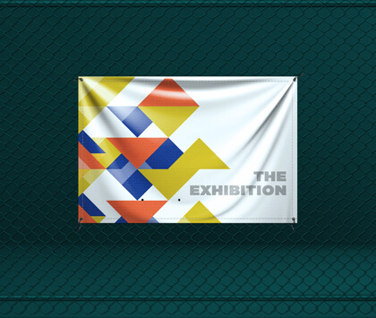 A dark green image containing white, yellow, blue and orange pvc banner.