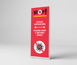 Stand 2 metres apart roller banner