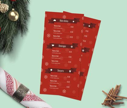 Green image containing a red Christmas menu design.