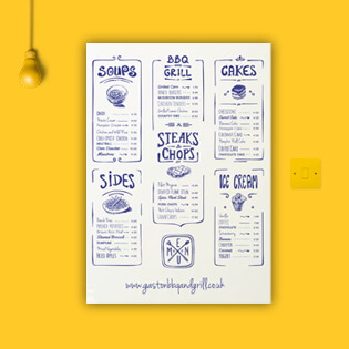 A rustic menu design for restaurant industries. Menu displayed on a yellow background.