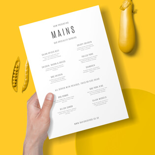 An A4 leaflet which is a main course menu on a yellow background