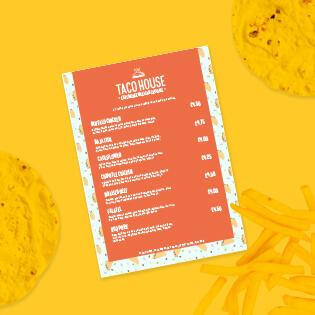 An orange taco house menu design on a bright yellow background.