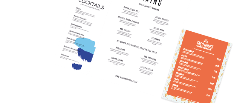 A collection of menus for drinks and restaurant industries including cocktail, taco house and restaurant designs.