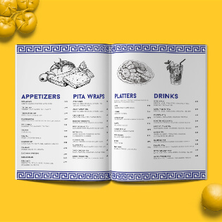 A rustic folded menu design for restaurant industries. Menu displayed on a yellow background.