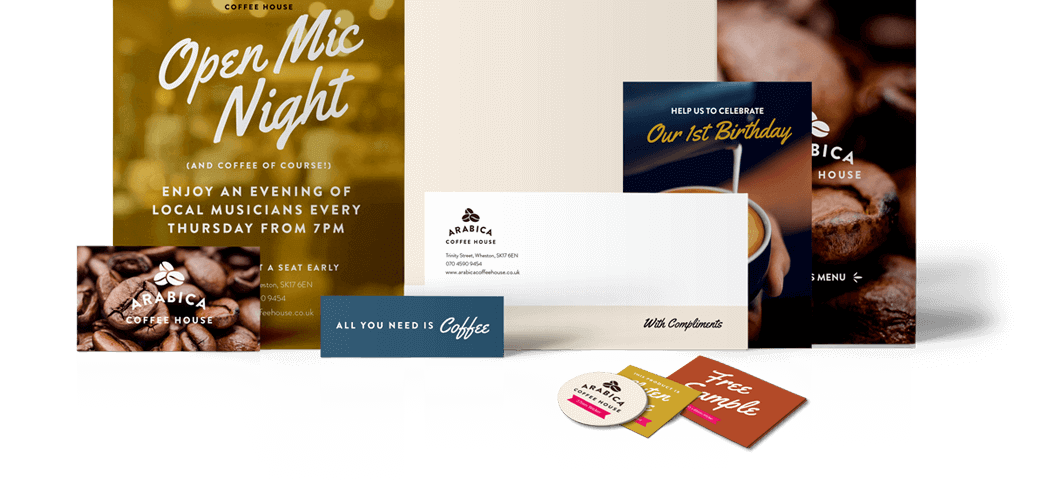 A sample of print products including flyers, posters and business cards advertising a range of businesses.