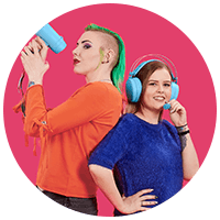 two girls with megaphone and headphones