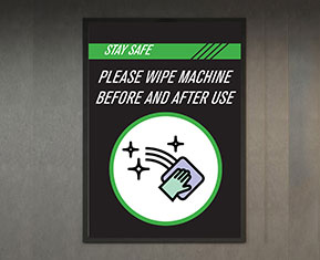 Please Wipe Machine Before and After Use PVC Poster