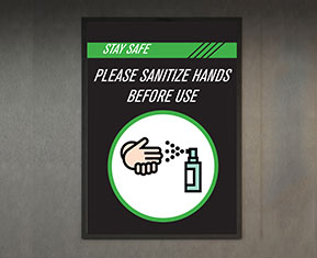 Please Sanitize Hands Before Use PVC Poster